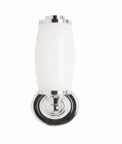 Burlington Round Light With Chrome Base & Tube Frosted Glass Shade Bl13